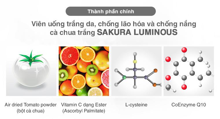Viên uống trắng da cà chua Sakura Luminous